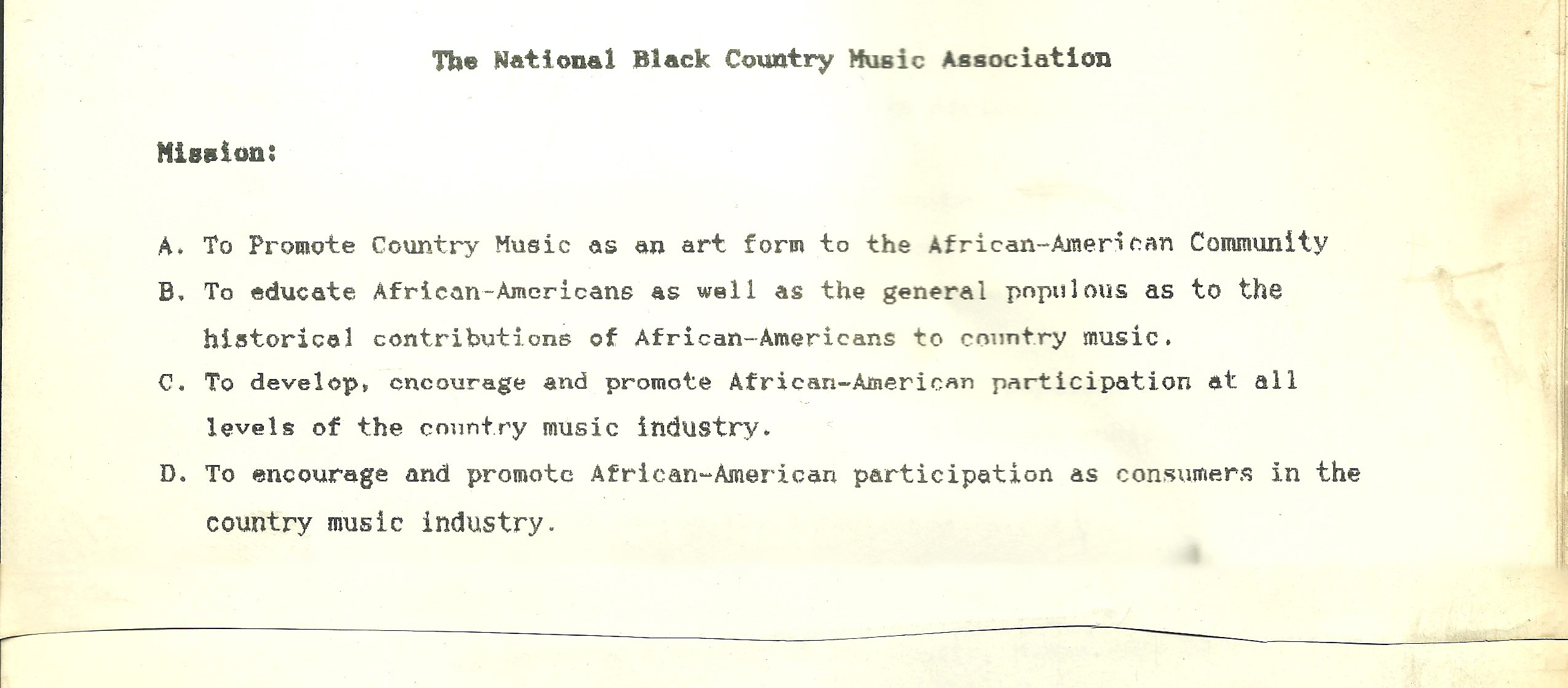 cleve francis mission statement black country music association
