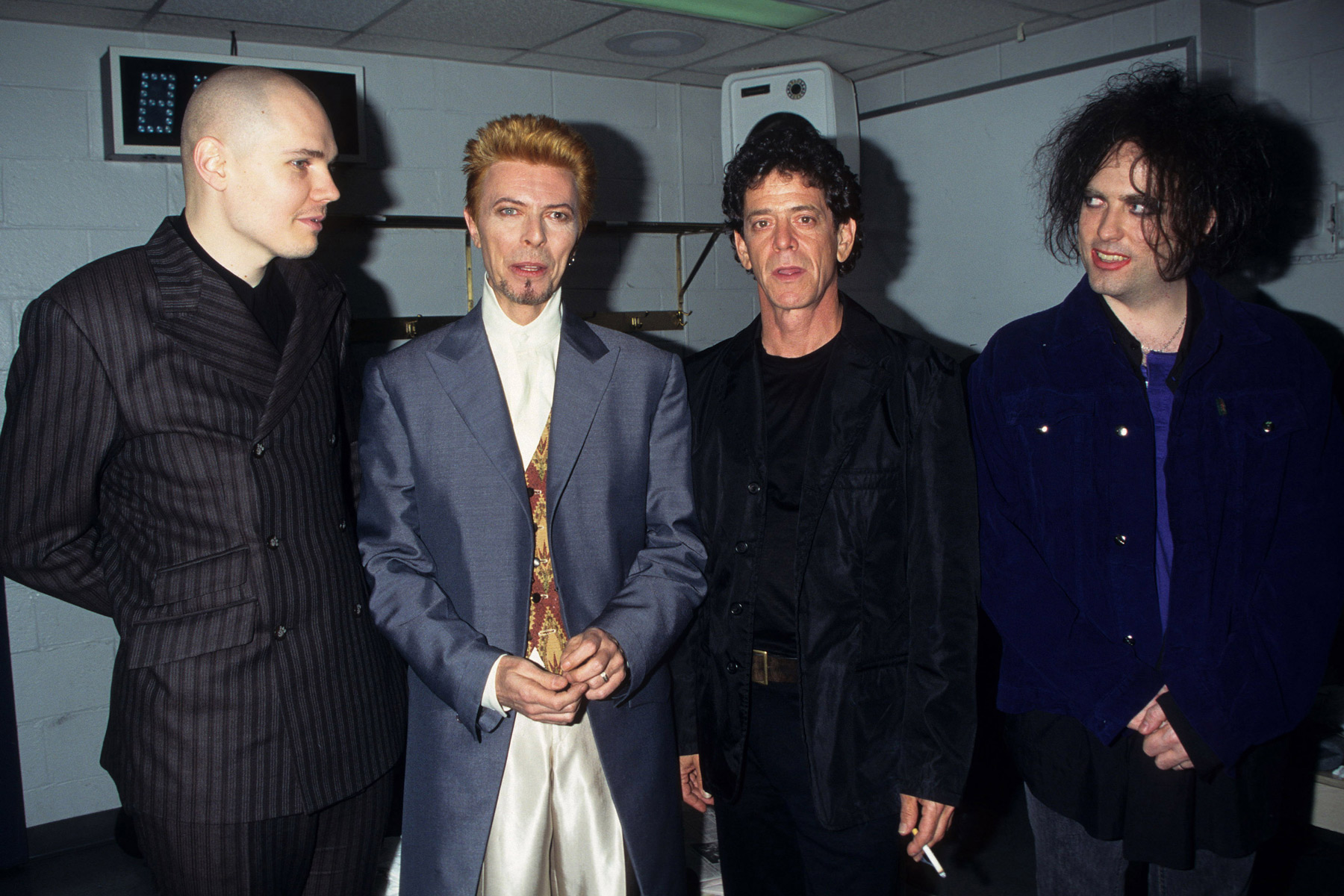 Billy Corgon, David Bowie, Lou Reed and Robert Smith (Photo by Ke.Mazur/WireImage)