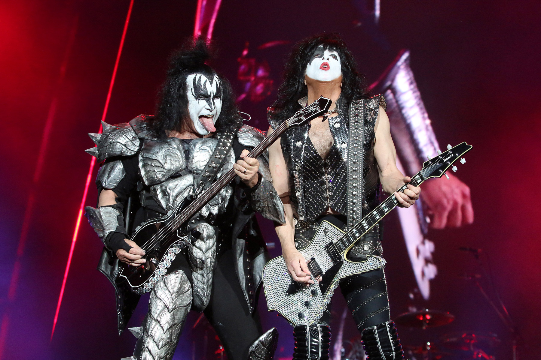 MEXICO CITY, MEXICO - MAY 3: Gene Simmons, Paul Stanley of KISS performs on stage during the Domination Festival 2019 at Foro Sol on May 3, 2019 in Mexico City, Mexico. (Photo by Adrián Monroy/Medios y Media/Getty Images)