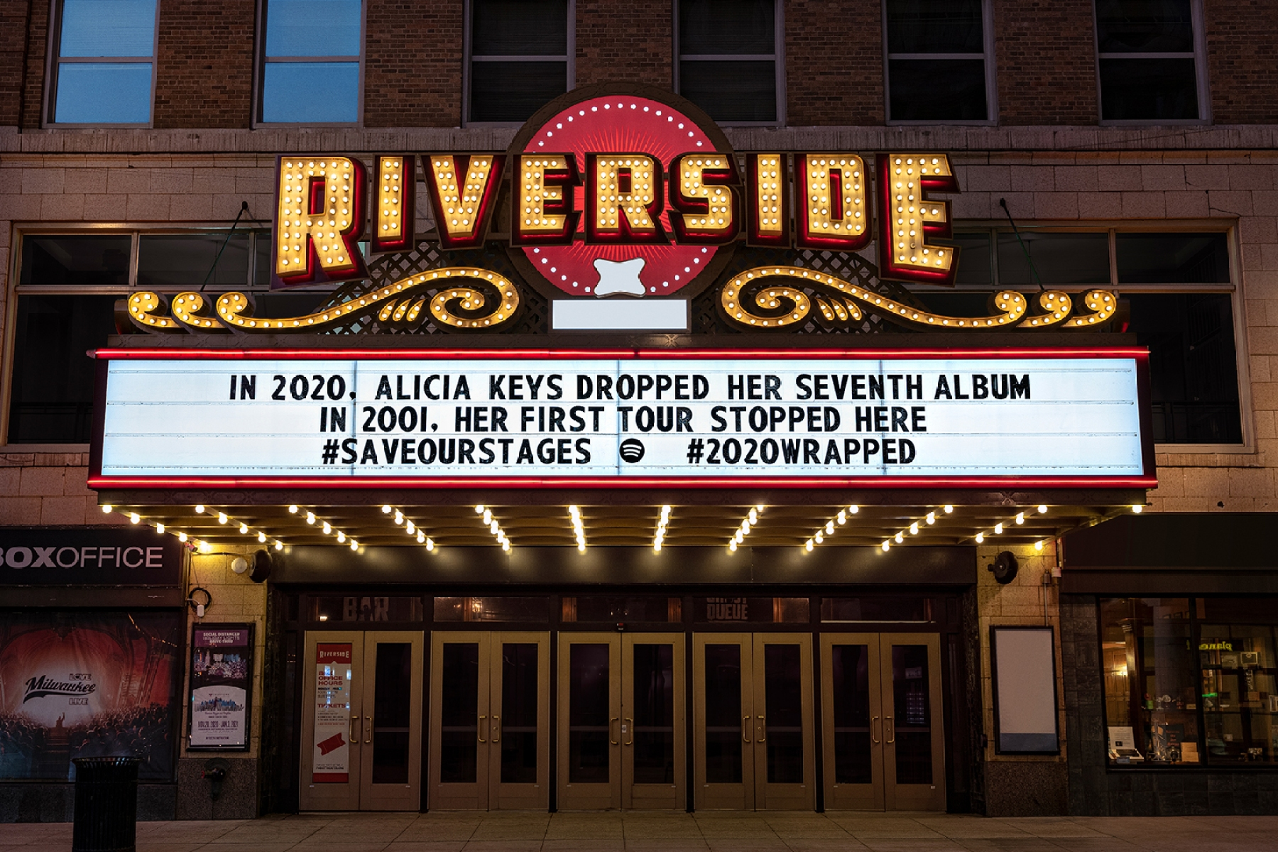 Riverside Milwaukee Spotify marquee
