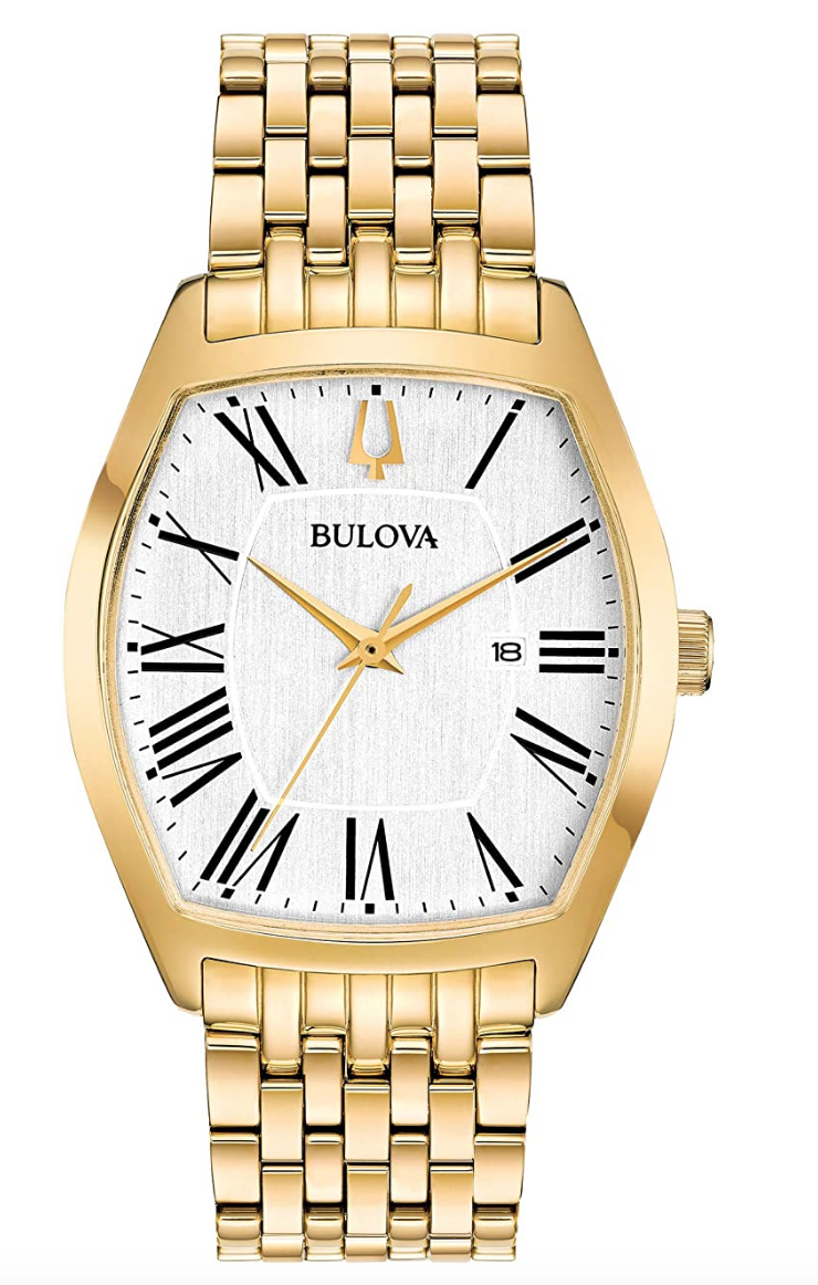 gold watch bracelet mens bulova