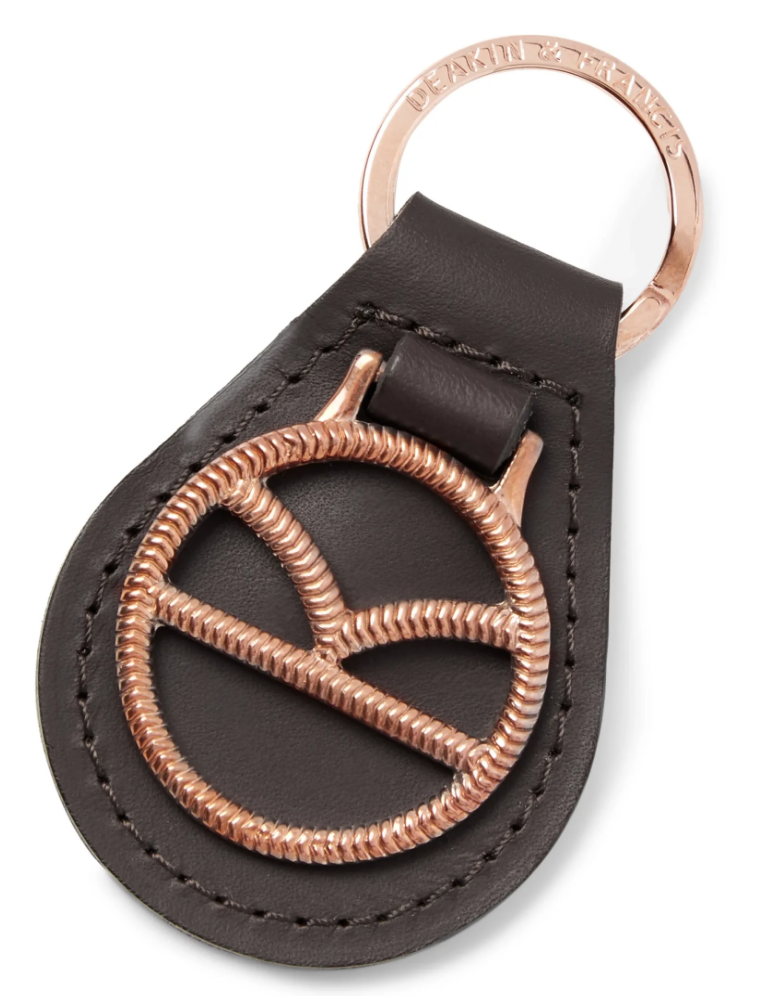 key fob leather gold