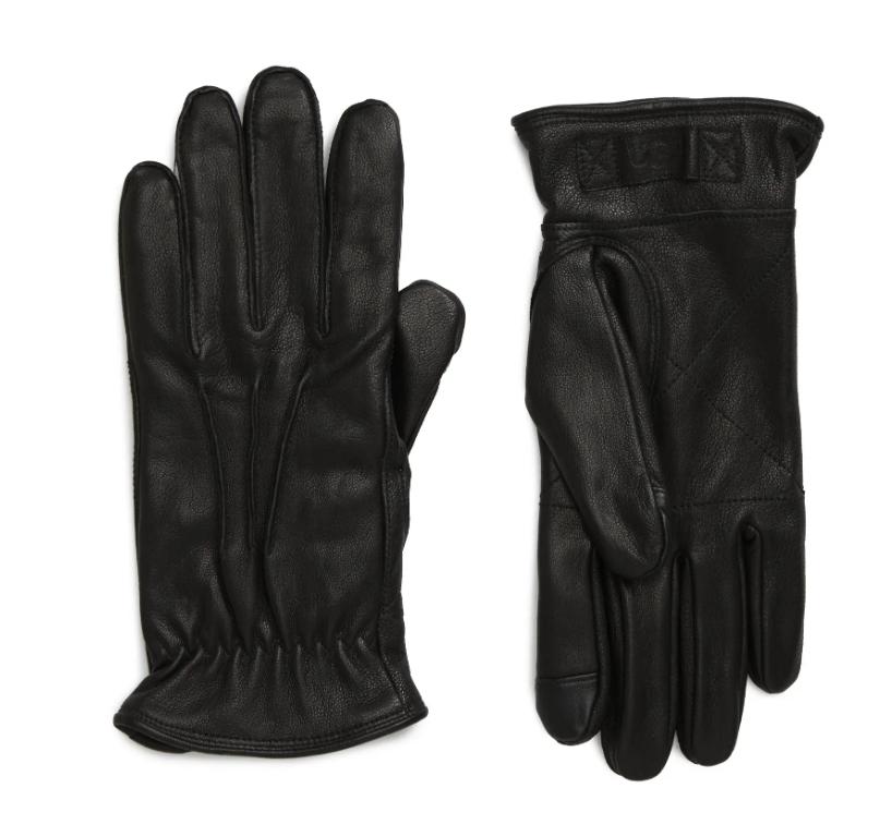black leather gloves mens