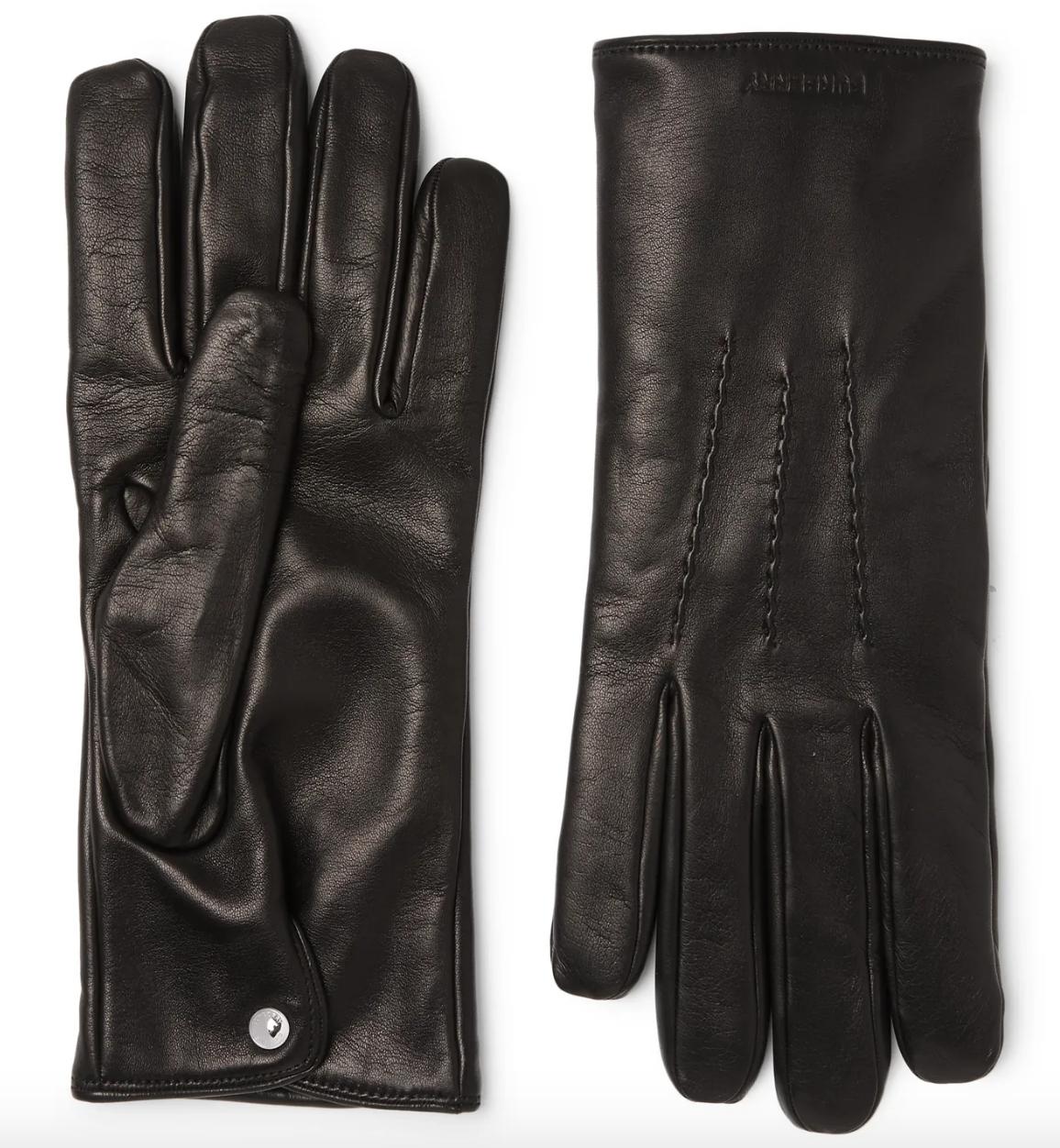 black leather gloves mens designer