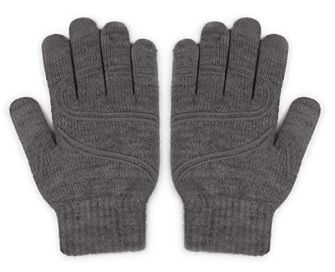 touchscreen gloves grey wool