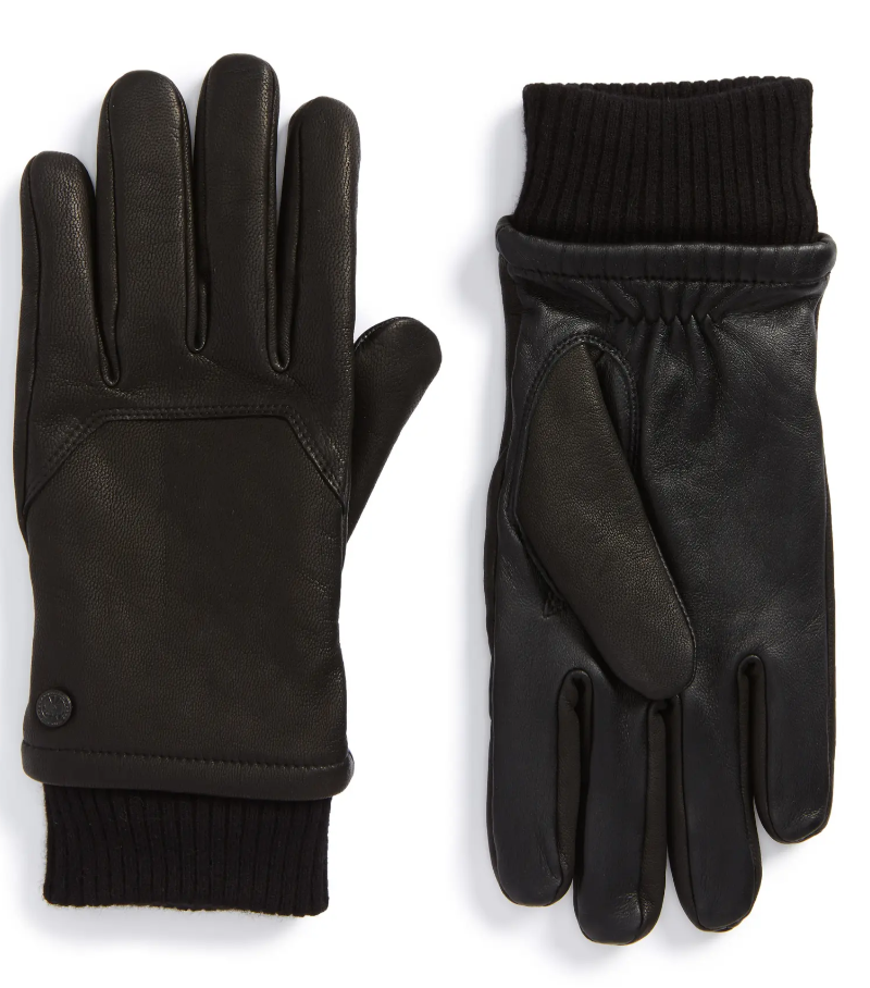 black leather gloves touchscreen