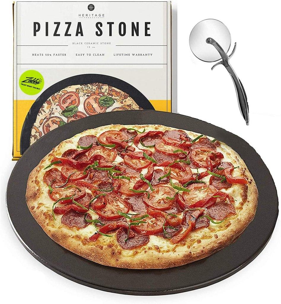 heritage black ceramic pizza stone