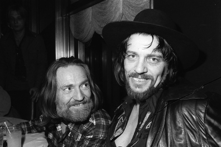 Country music singers Waylon Jennings, right, and Willie Nelson are shown in New York City on Feb. 5. 1978.  (AP Photo)