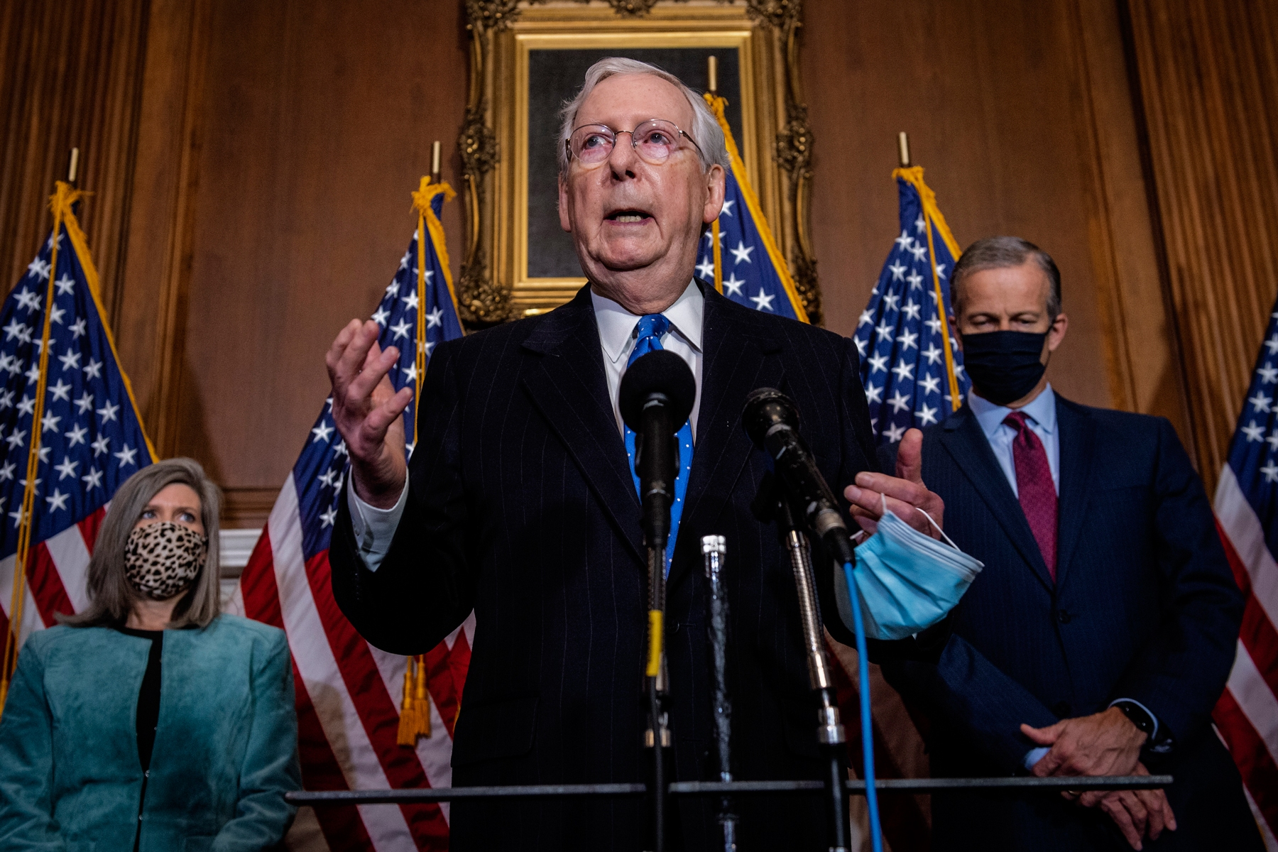 Senate Majority Leader Mitch McMcConnell of Ky., speaks to reporters on Capitol Hill in Washington, Tuesday, Dec. 1, 2020. (Bill O'Leary/Pool via AP)