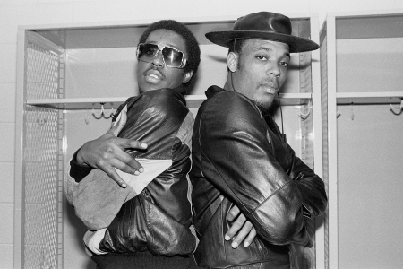 Portrait of members of the American Hip-hop group Whodini, Jalil Hutchins (left) and John Fletcher (aka Ecstasy) as they pose backstage at the UIC Pavilion, Chicago, Illinois, October 20, 1984. (Photo by Paul Natkin/Getty Images)