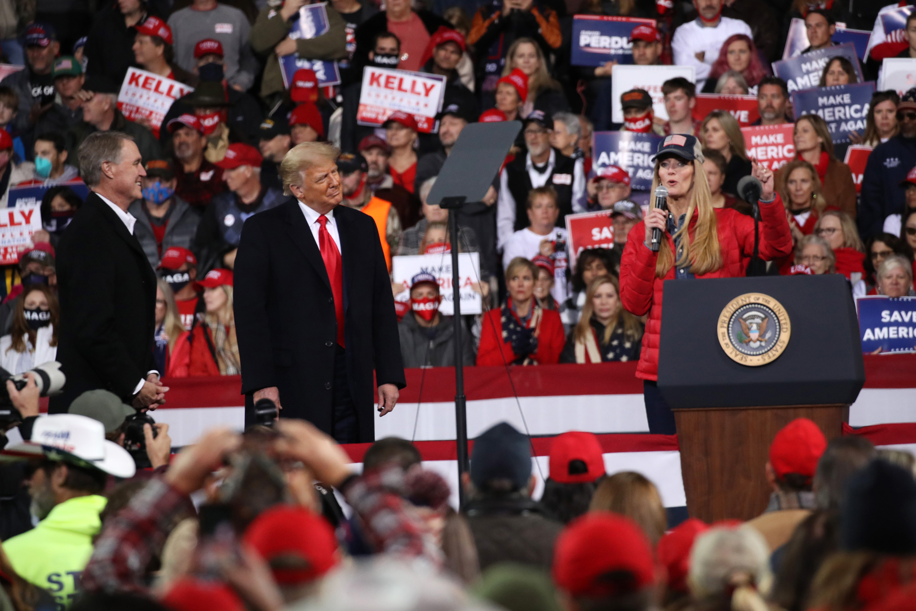 VALDOSTA, GEORGIA - DECEMBER 05: President Donald Trump attends a rally in support of Sen. David Perdue (R-GA) and Sen. Kelly Loeffler (R-GA) on December 05, 2020 in Valdosta, Georgia. The rally with the senators comes ahead of a crucial runoff election for Perdue and Loeffler on January 5th which will decide who controls the United States senate. (Photo by Spencer Platt/Getty Images)