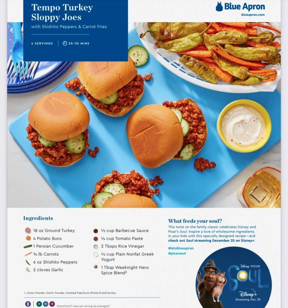 Blue Apron Soul Meal Kit Recipe Card