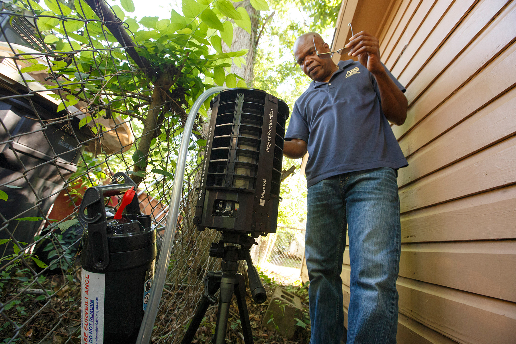 Max Vigilant, a surveillance entomologist with the Harris County Public Health's Mosquito & Vector Control, checks a Microsoft-designed smart mosquito trap in Houston, June 7, 2017. With 4.5 million people in a hot, muggy metropolis built atop a bayou, Houston is a perfect target for the mosquito-borne Zika virus. But it may be better prepared than any other urban center to stop an outbreak. (Michael Stravato/The New York Times)