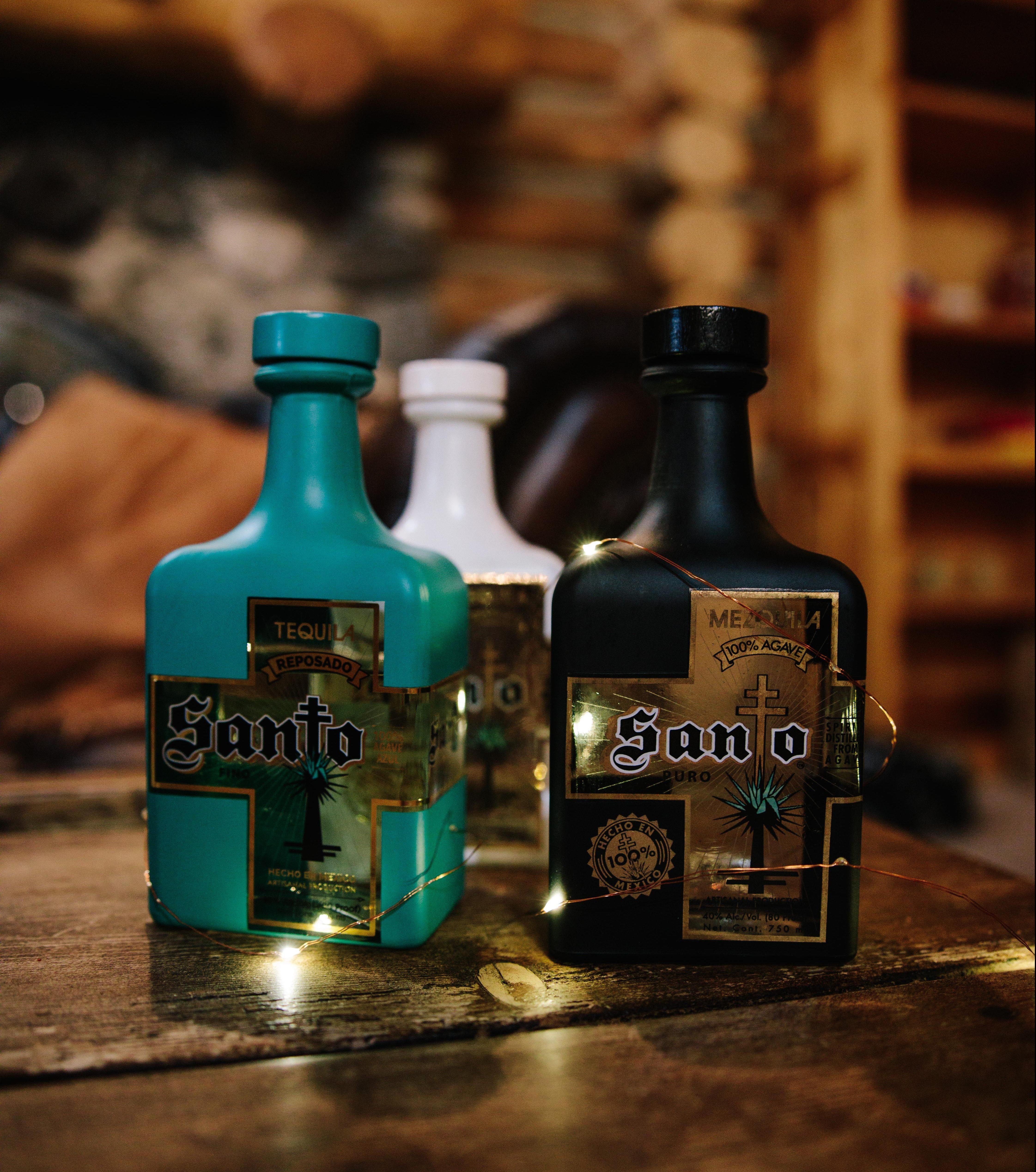 Santo tequila bottles