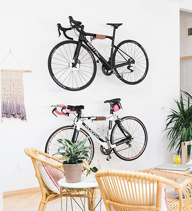 Bike hook racks wood