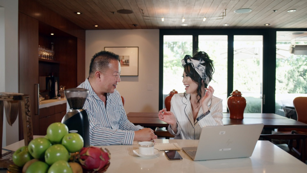 """(L-R) Dr. Gabriel Chiu and Christine Chiu in episode 2 """"Tale of Two Trusts"""" of Bling Empire: Season 1. c. Courtesy of Netflix © 2021"""