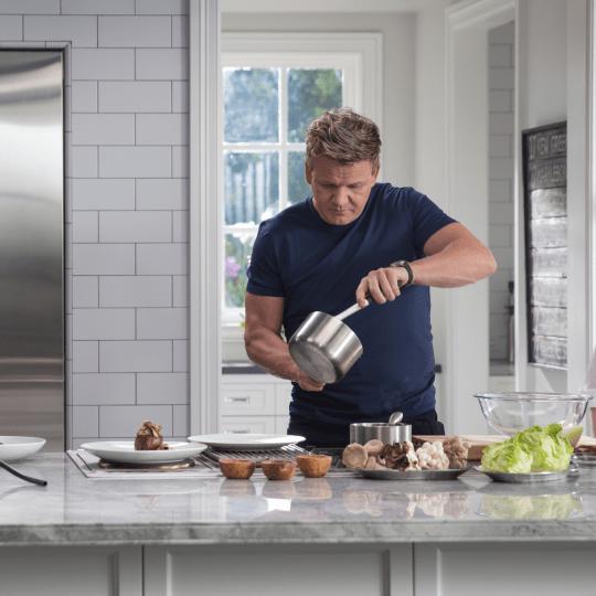 Gordon Ramsay teaching a MasterClass on restaurant quality dishes