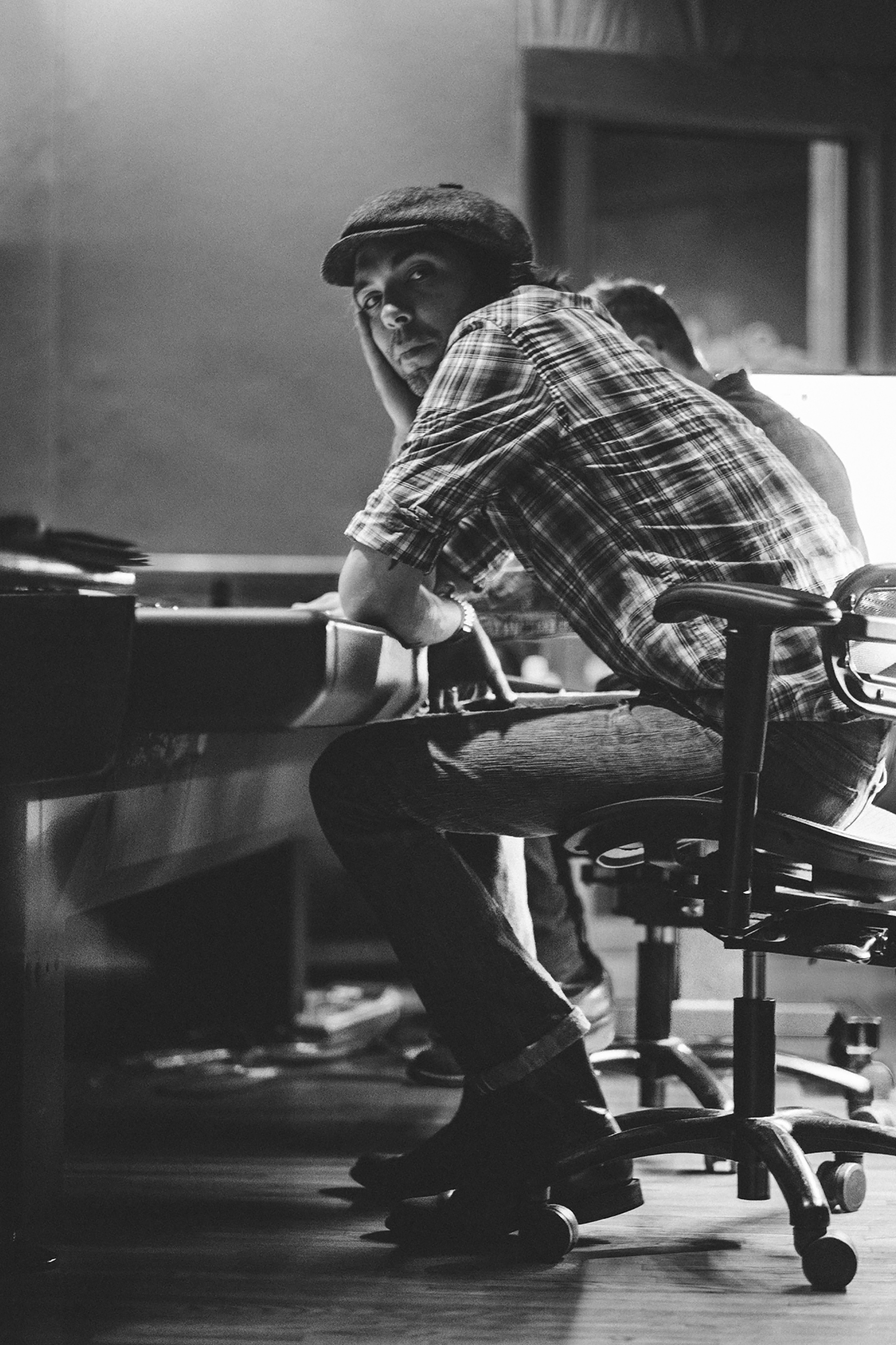 """Justin Townes Earle in the studio while recording his final album, """"Saint of Lost Causes."""""""