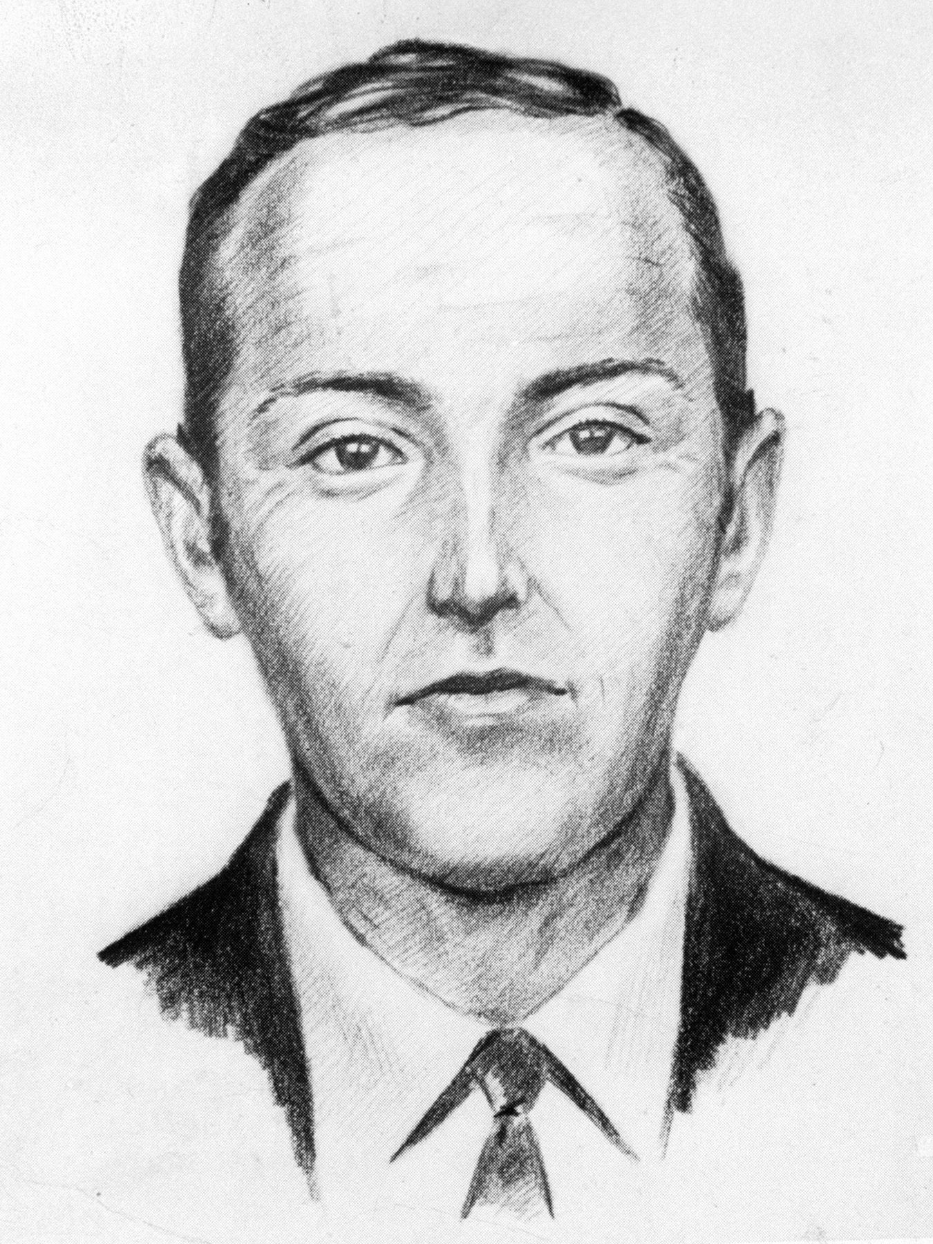 FBI sketch of hijacker D.B. Cooper who commandeered a Northwest Airlines jet, parachuted out over the forests of Washington State w. $200, 000 (obtained from a bomb threat) & simply disappeared. (Photo by Time Life Pictures/Fbi/The LIFE Picture Collection via Getty Images)