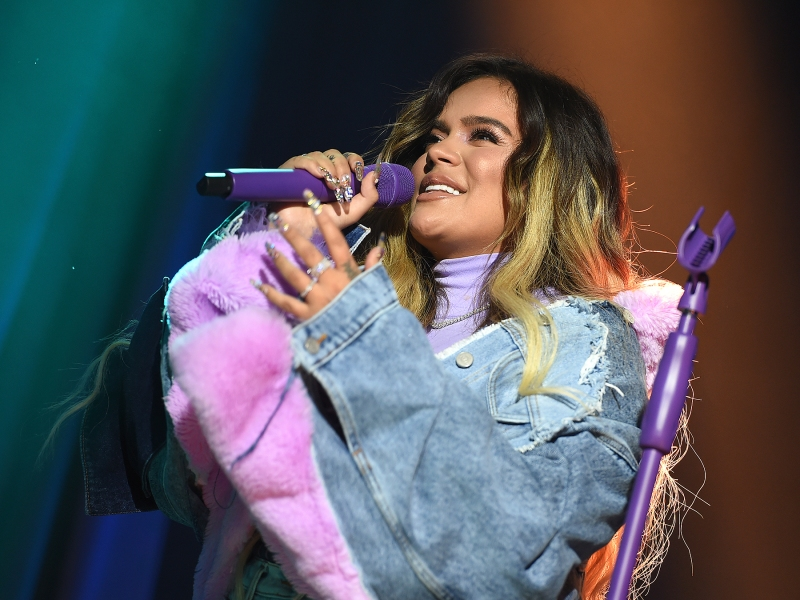 Karol G performs at Sir Lucian Grainge's 2020 Artist Showcase Presented By Citi and Lenovo on Saturday, Jan. 25, 2020 in Los Angeles. (Photo by Jordan Strauss/Invision for UMG/AP Images)