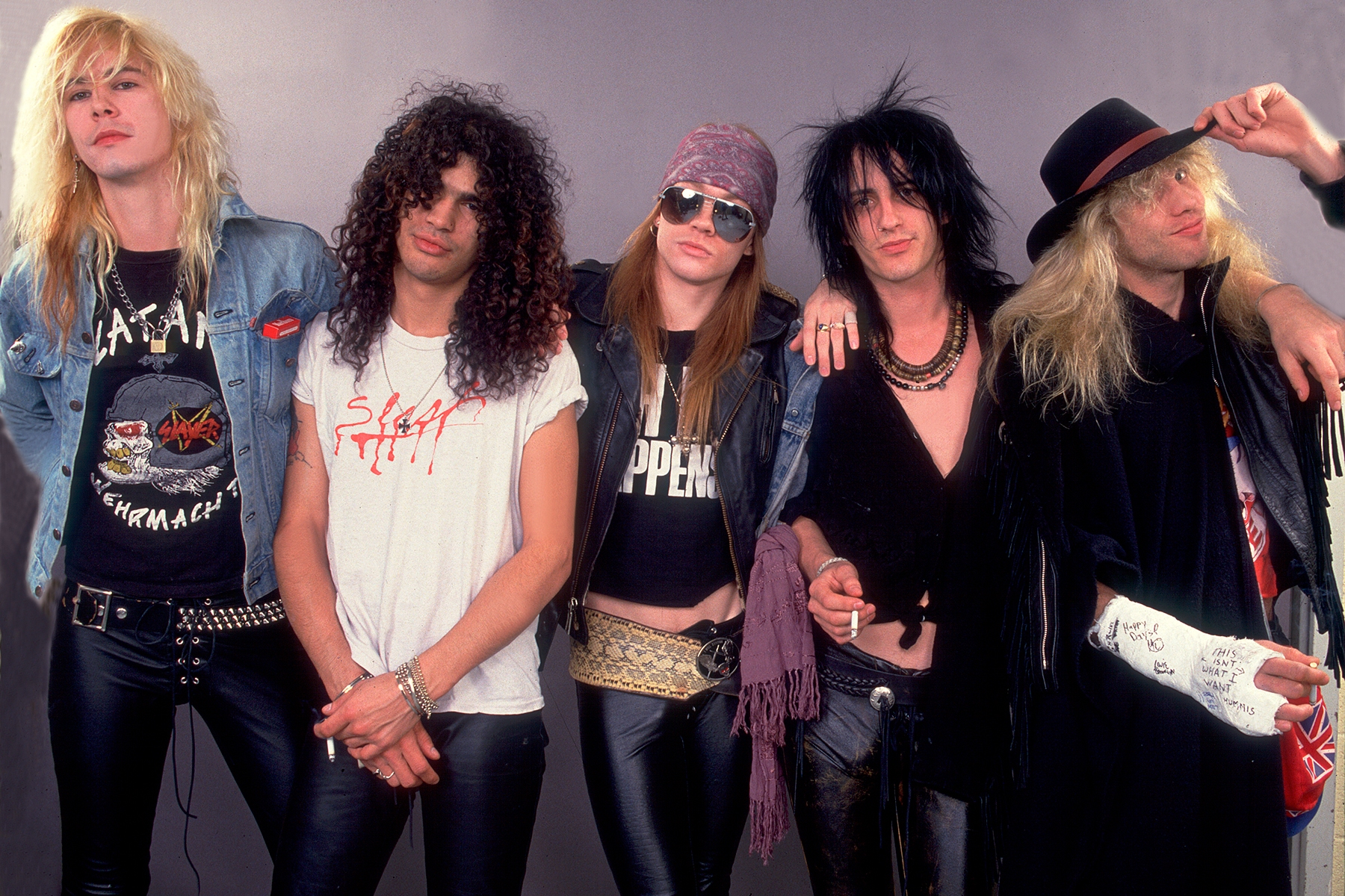 Guns And Roses (Duff McCagan, Slash, Axl Rose, Izzy Stradlin, Steven Adler) at the UIC Pavillion  in Chicago, Illinois,  August 21, 1987 .  (Photo by Paul Natkin/Getty Images)