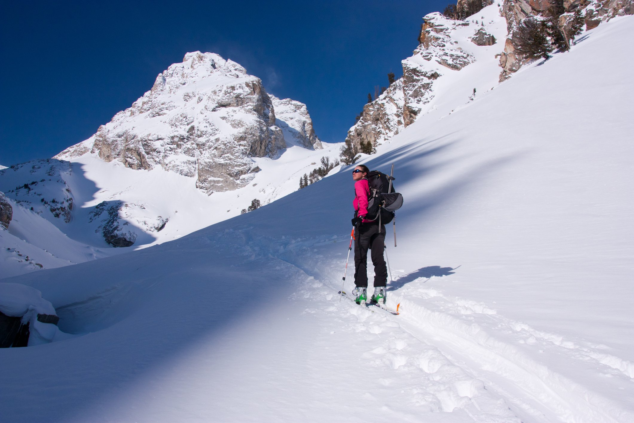 Back country skiing on the Middle Teton, Grand Teton National Park, Wyoming