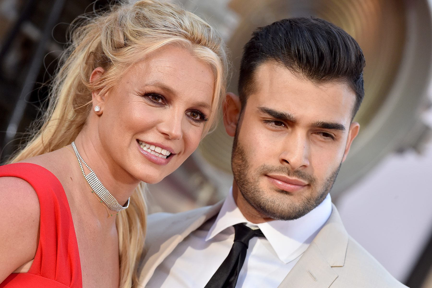 """HOLLYWOOD, CALIFORNIA - JULY 22: Britney Spears and Sam Asghari attend Sony Pictures' """"Once Upon a Time ... in Hollywood"""" Los Angeles Premiere on July 22, 2019 in Hollywood, California. (Photo by Axelle/Bauer-Griffin/FilmMagic)"""