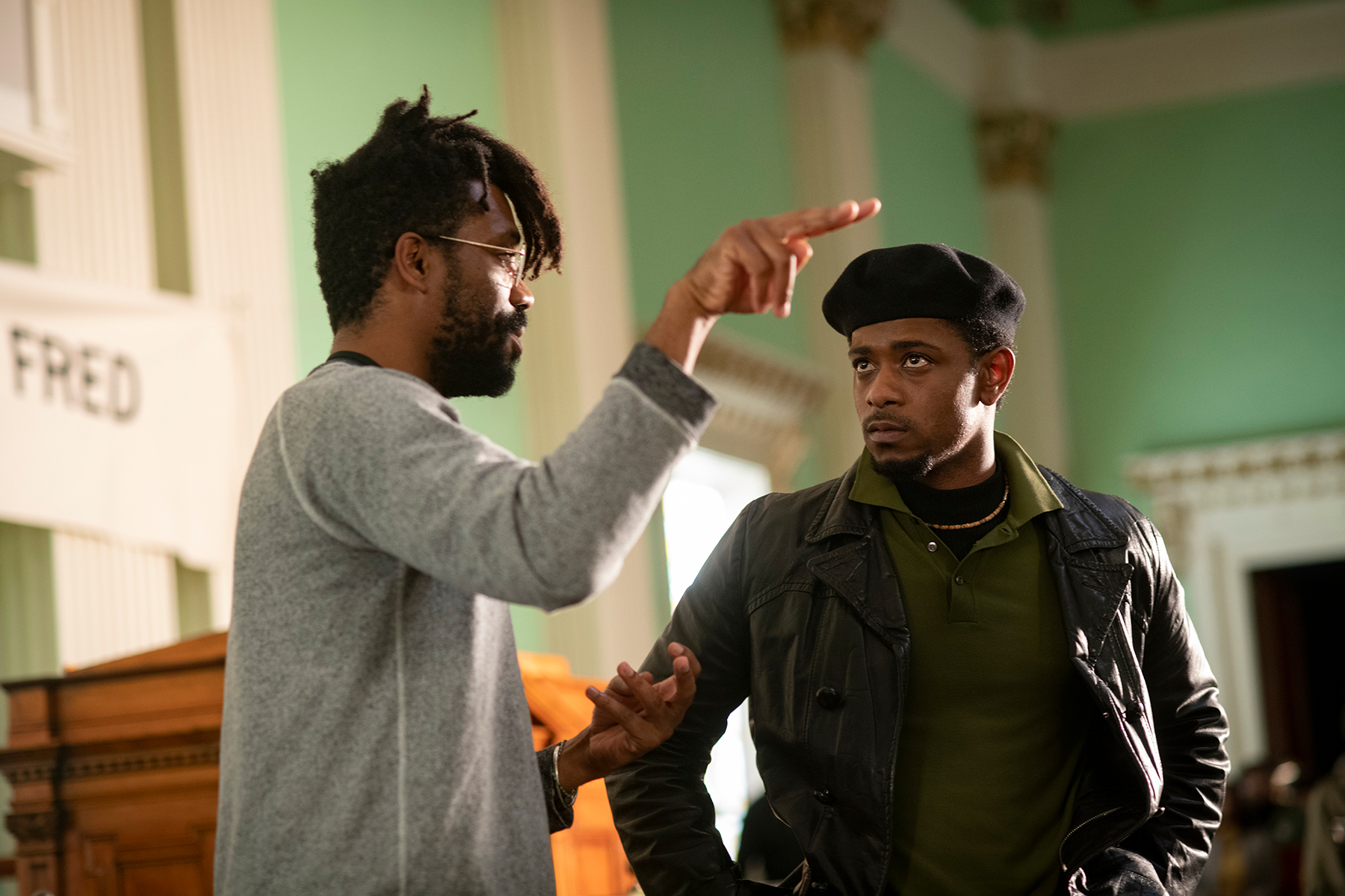 "Director Shaka King and Lakeith Stanfield on the set of ""Judas and the Black Messiah."""