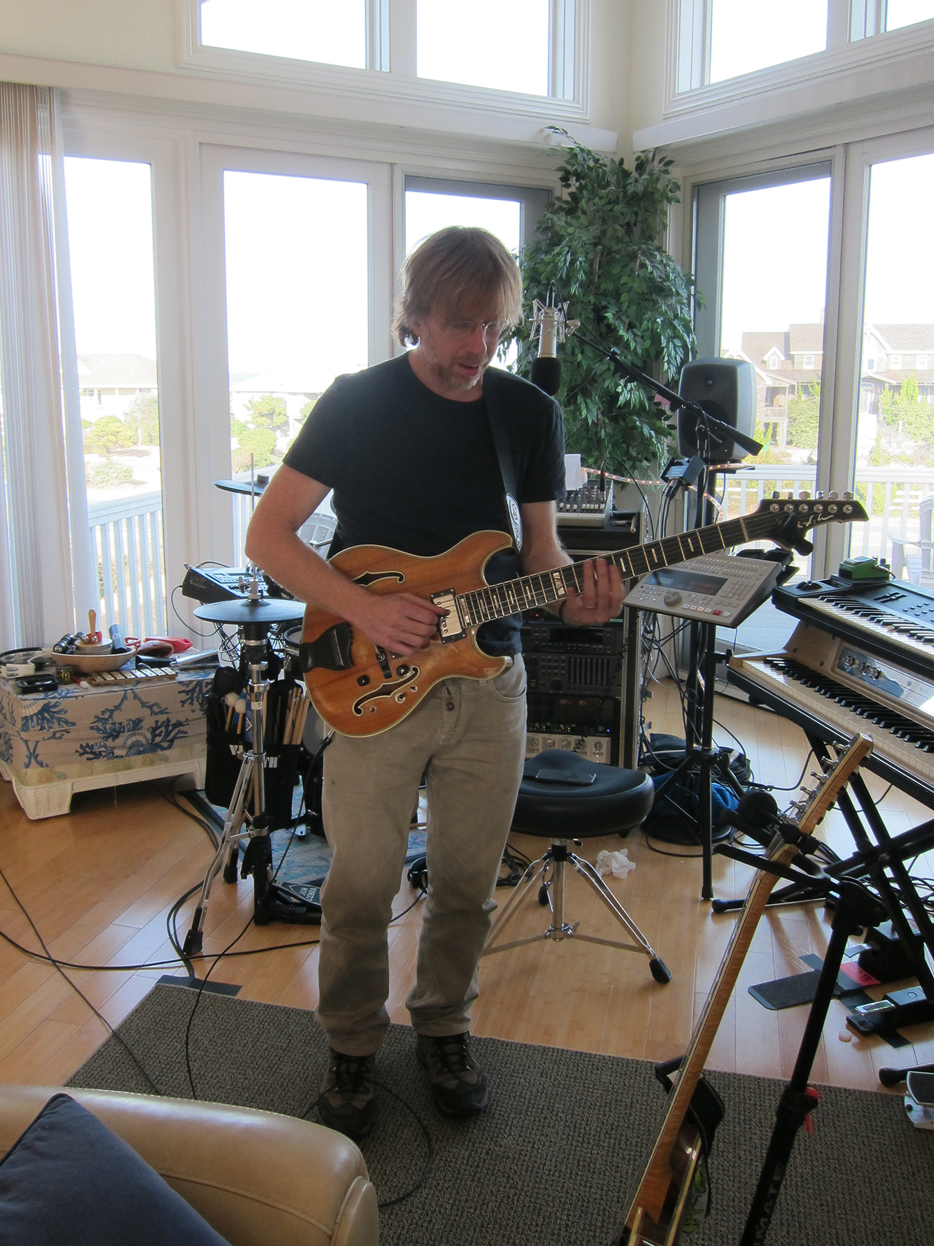 "Trey Anastasio playing in the ""mobile"" Rubber Jungle studio in Kitty Hawk, NC, 2015."
