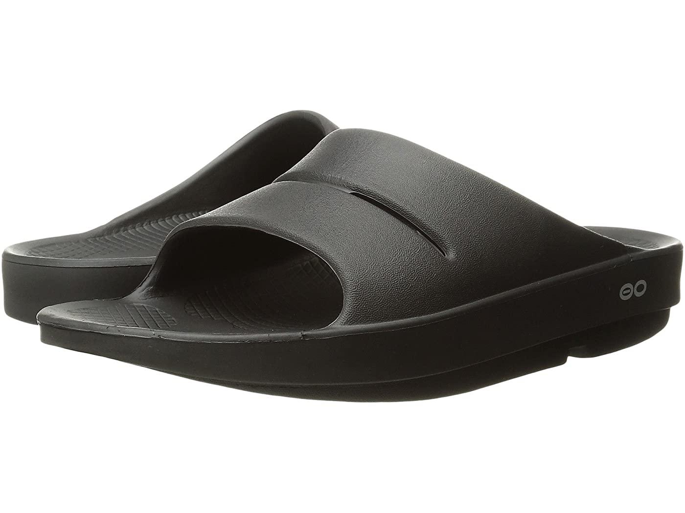 black slides sandals oofos