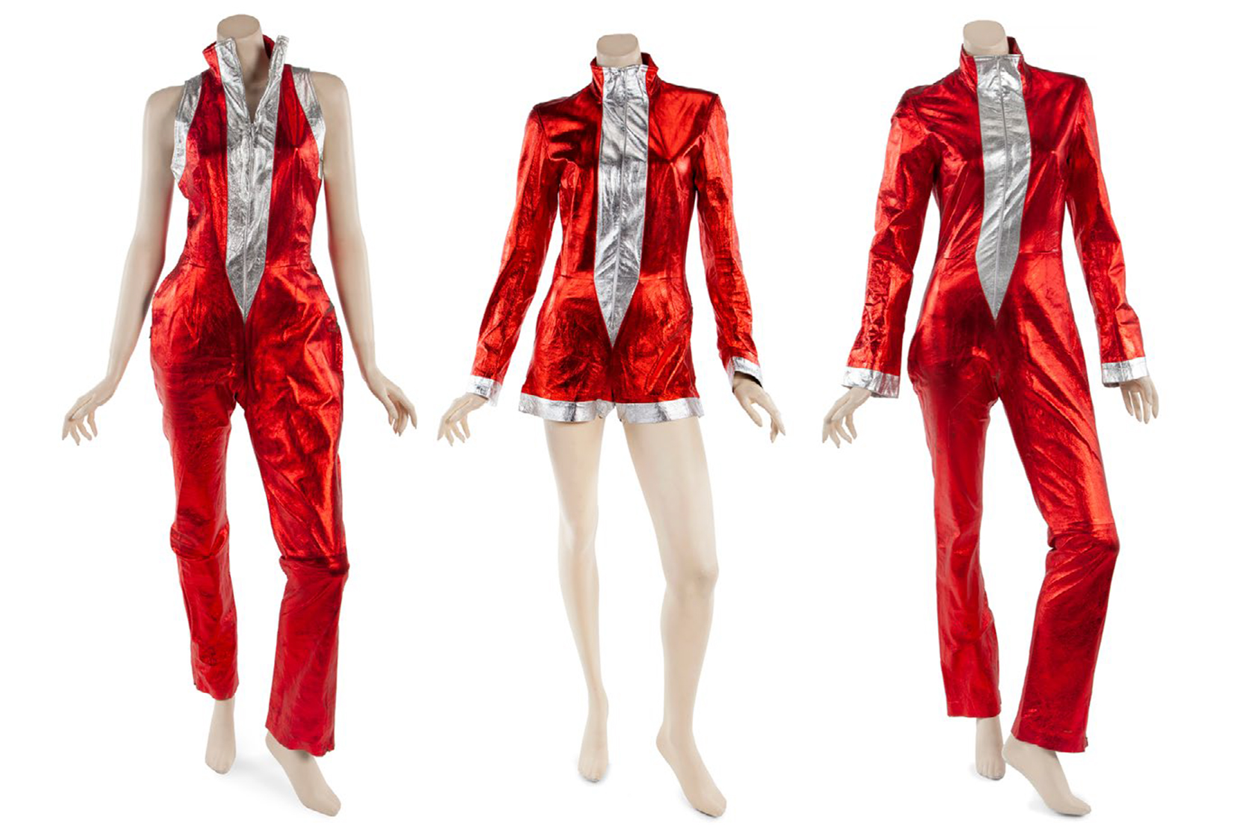 """""""Independent Women Part 1"""" music video costumes left to right worn by Beyoncé Knowles, Kelly Rowland and Michelle Williams of Destiny's Child"""