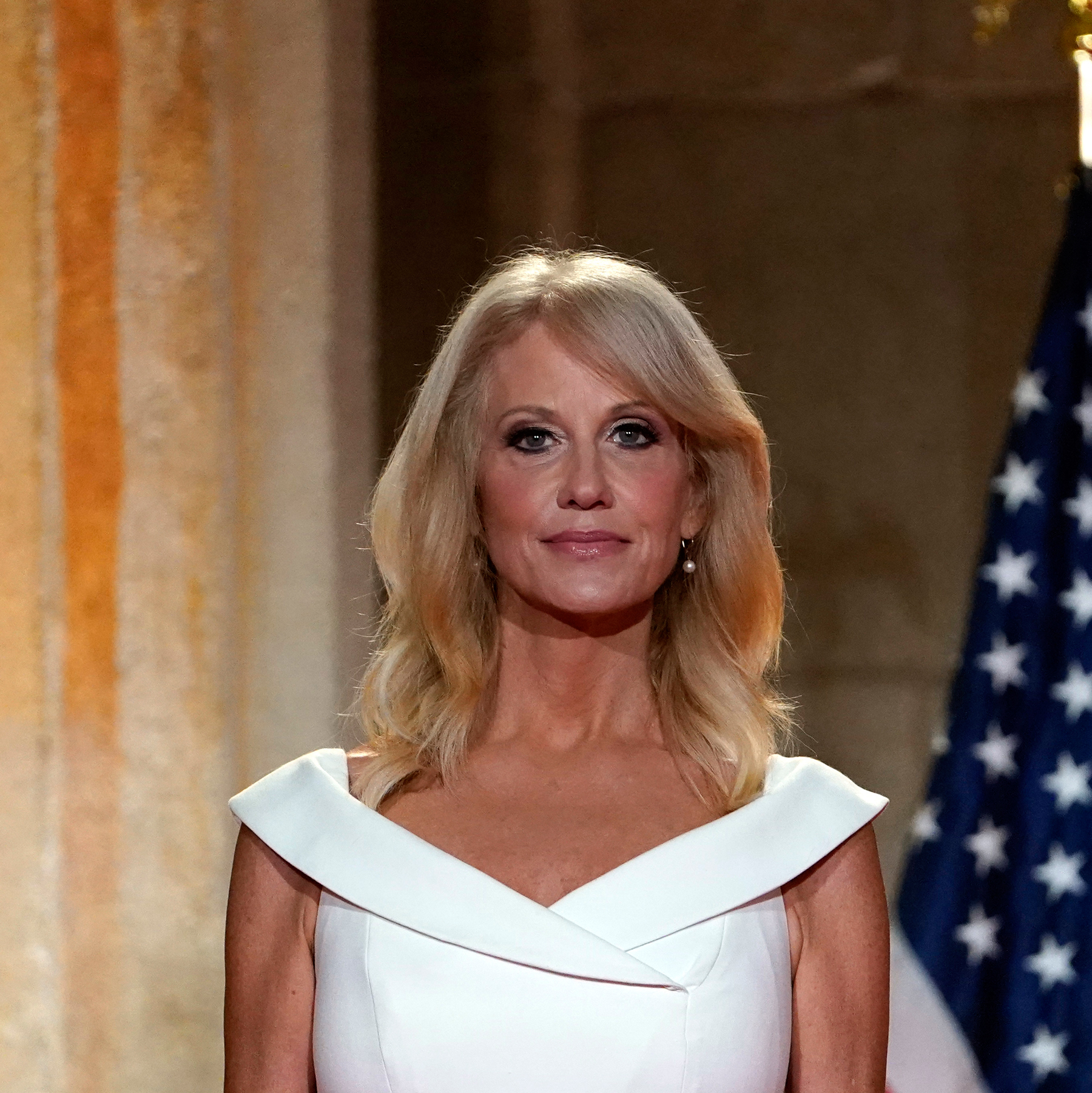 White House counselor Kellyanne Conway waits to tape her speech for the third day of the Republican National Convention from the Andrew W. Mellon Auditorium in Washington, Wednesday, Aug. 26, 2020. (AP Photo/Susan Walsh)