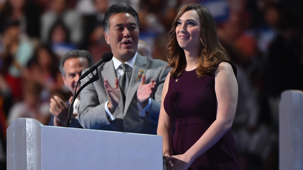 PHILADELPHIA, PA - JULY 28:LGBT rights activist Sarah McBride addresses the Democratic National Convention in Philadelphia on Thursday, July 28, 2016. (Photo by Ricky Carioti/The Washington Post via Getty Images)