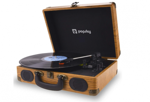 Best Suitcase Turntable, Popsky Record Player, 3-Speed Vintage Style Bluetooth Turntable