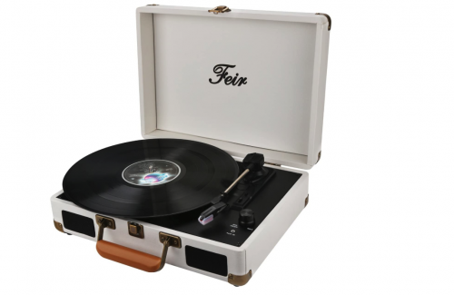 Best Portable Suitcase Record Player Feir TP204 Vinyl Stereo White Record Player