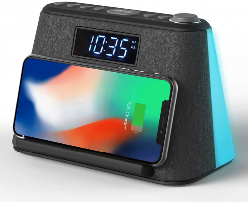 i-Box LCD Alarm Clock with USB Charger & Wireless QI Charging Best Bedside Clock