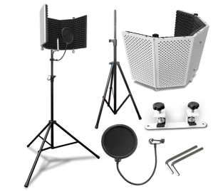 AxcessAbles SF-101KIT-VW Vented Recording Studio Microphone Shield with Stand, Best Portable Insulation Recording Booth