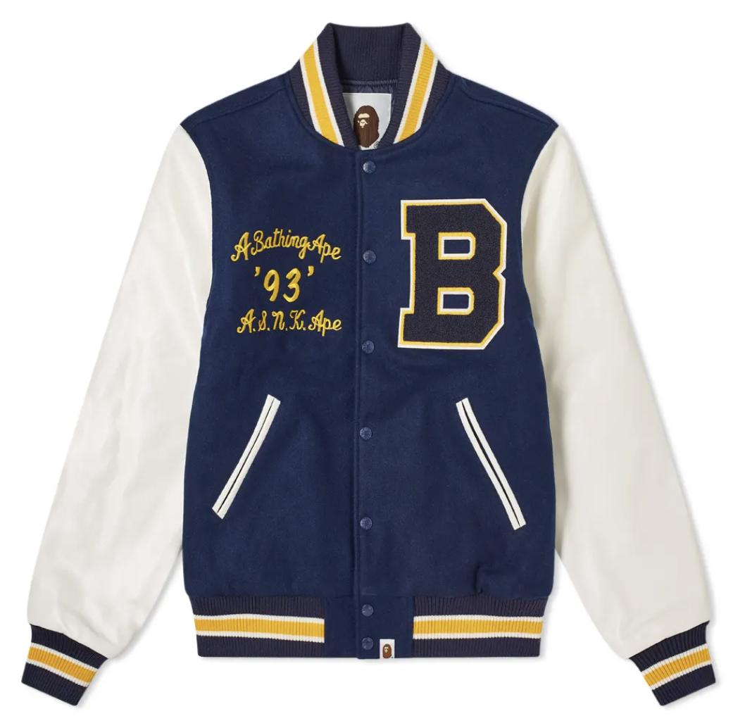 varsity jacket streetwear bape