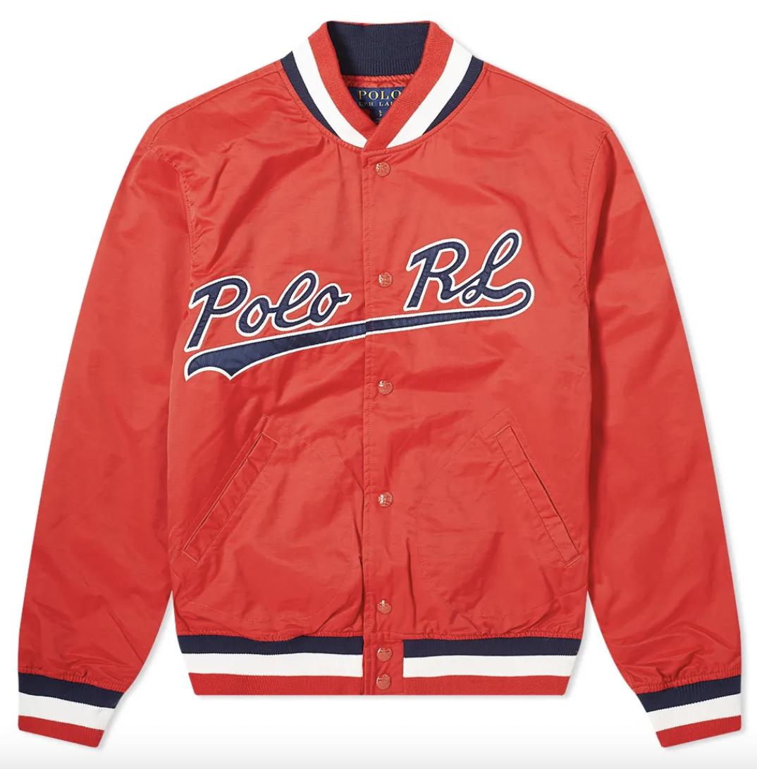 red varsity jacket polo ralph lauren