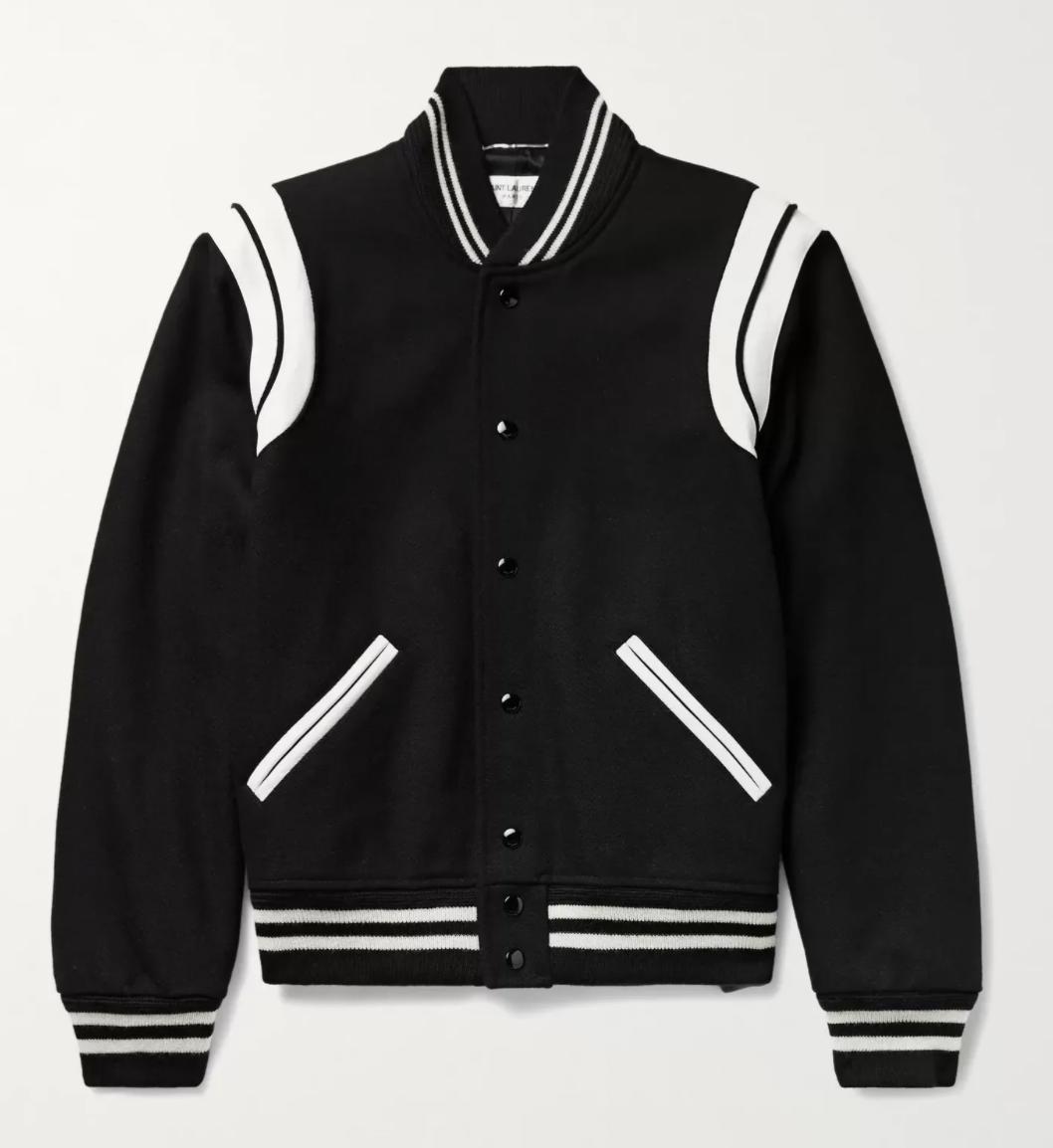 black varsity jacket saint laurent