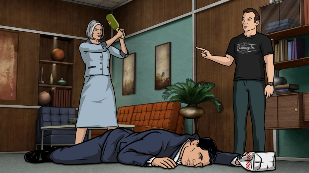 ARCHER, l-r: Malory Archer (voice: Jessica Walter), Sterling Archer (voice: H. Jon Benjamin), Slater (voice: Christian Slater) in 'Liquid Lunch' (Season 7, Episode 8, aired May 19, 2016). ©FX/courtesy Everett Collection