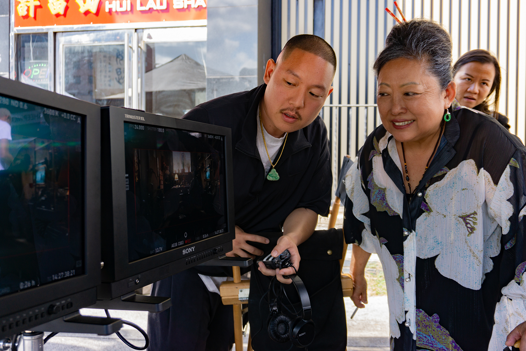 4153_D008_00521_RCWriter/director/actor Eddie Huang and his mom, actress Jessica Huang on the set of their film BOOGIE, a Focus Features release. Credit: Nicole Rivelli / Focus Features