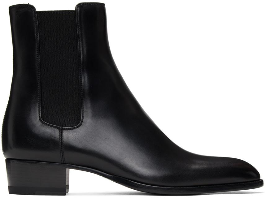 black leather chelsea boots saint laurent