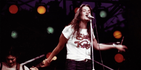 Kate Taylor performs at the Good Vibrations from Central Park concert in 1971.
