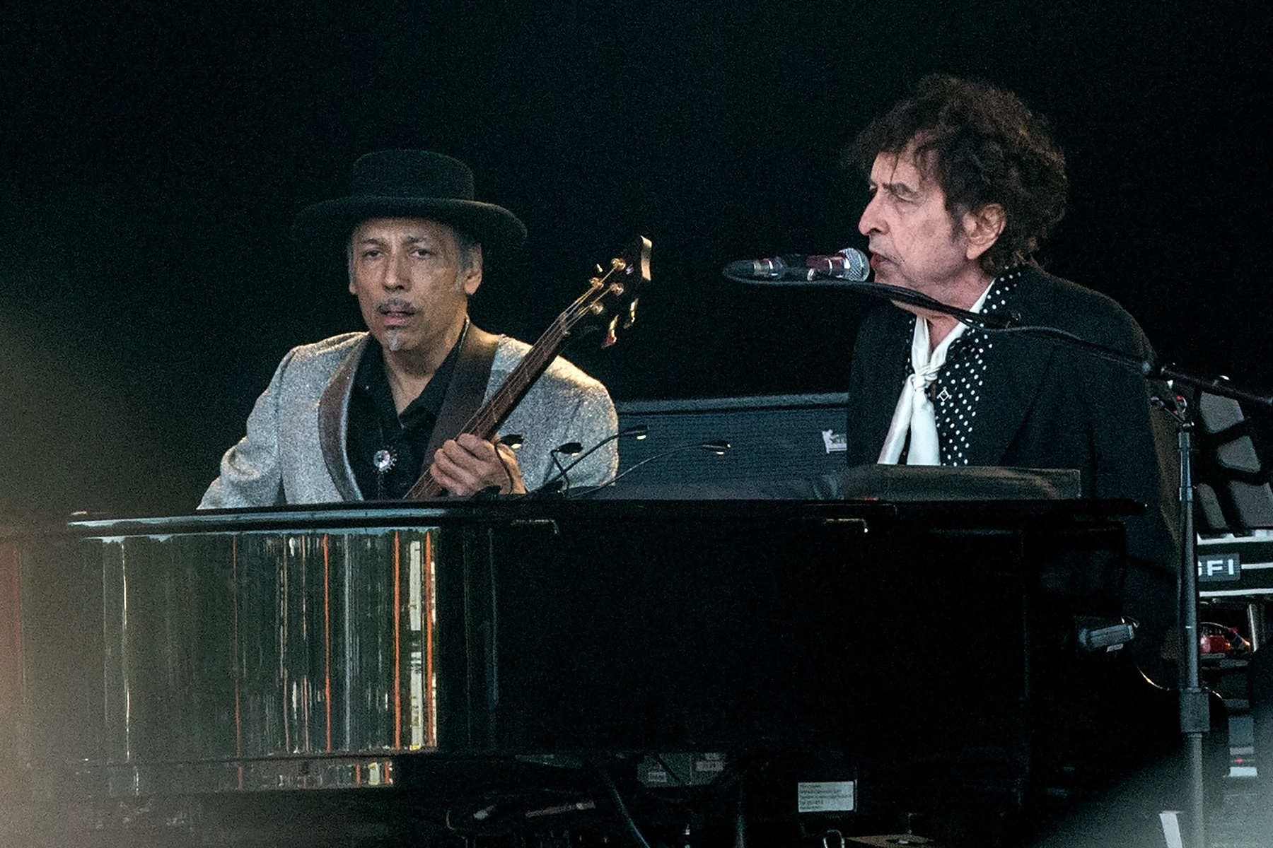 US musician Bob Dylan performs on the Orange stage as the music area opens at Roskilde Festival on July 3, 2019. (Photo by Helle Arensbak / Ritzau Scanpix / AFP) / Denmark OUT (Photo credit should read HELLE ARENSBAK/AFP via Getty Images)