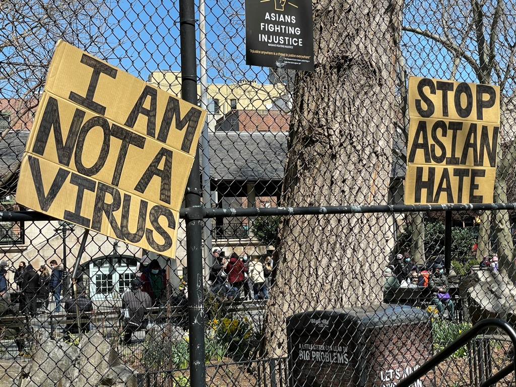 Photo by: STRF/STAR MAX/IPx 2021 4/3/21 Rally to 'Stop Asian Hate' at Columbus Park in New York City.