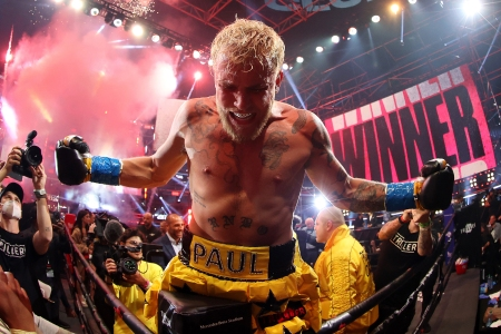 ATLANTA, GEORGIA - APRIL 17: Jake Paul celebrates after defeating Ben Askren in their cruiserweight bout during Triller Fight Club at Mercedes-Benz Stadium on April 17, 2021 in Atlanta, Georgia. (Photo by Al Bello/Getty Images for Triller)