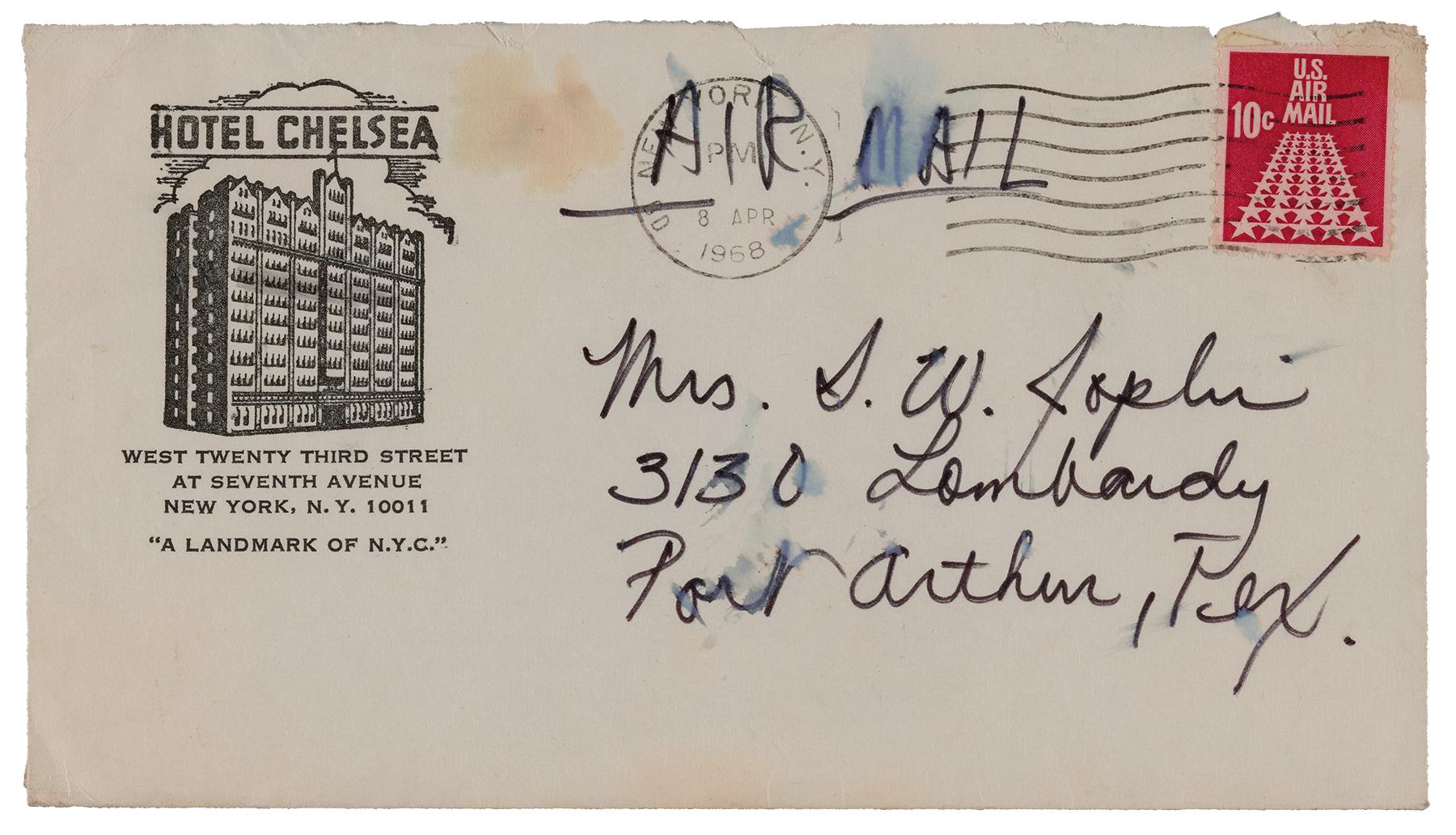 janis joplin letters hotel chelsea
