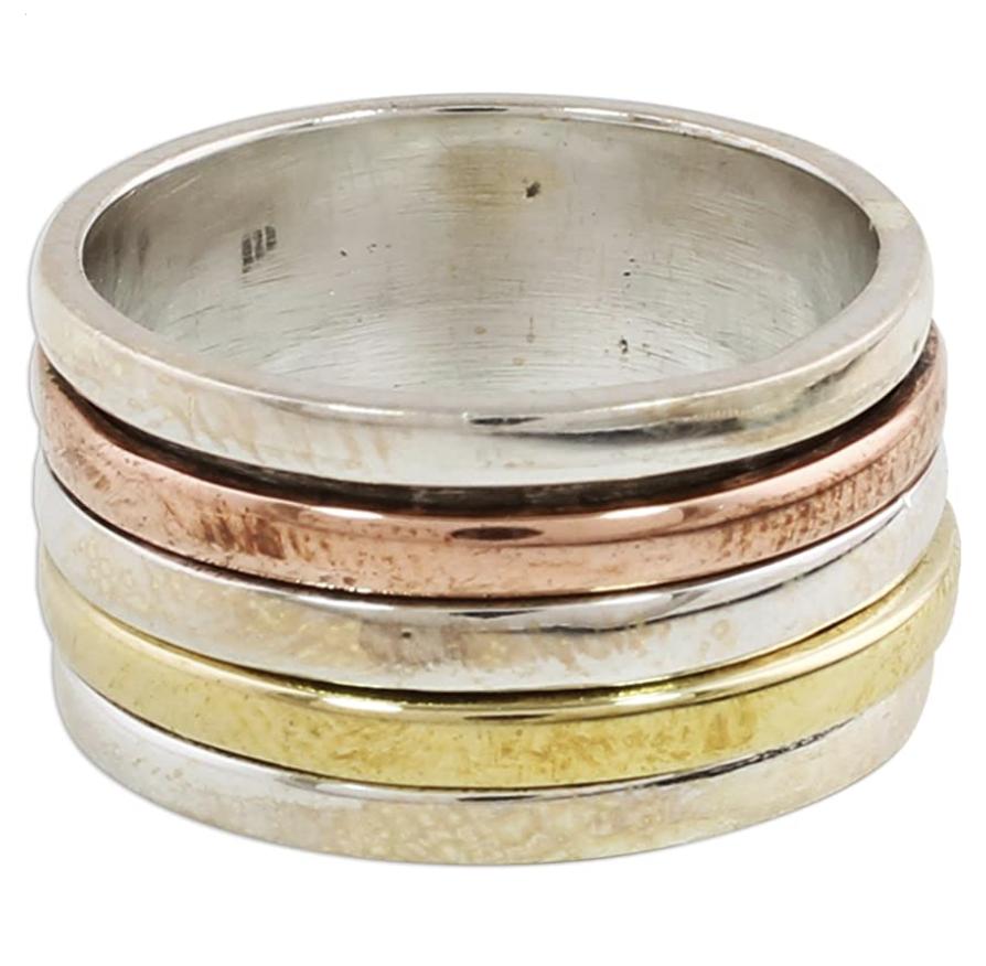 Best Fidget Rings-Noiva-.925-sterling-silver-copper-brass-spinner-ring