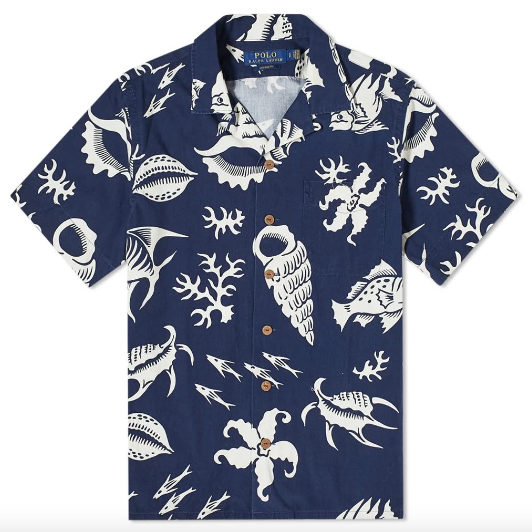 blue vacation shirt mens ralph lauren